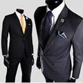 Nuevo 2016 para hombre un botón chaqueta delgada gris del todo fósforo moda novio