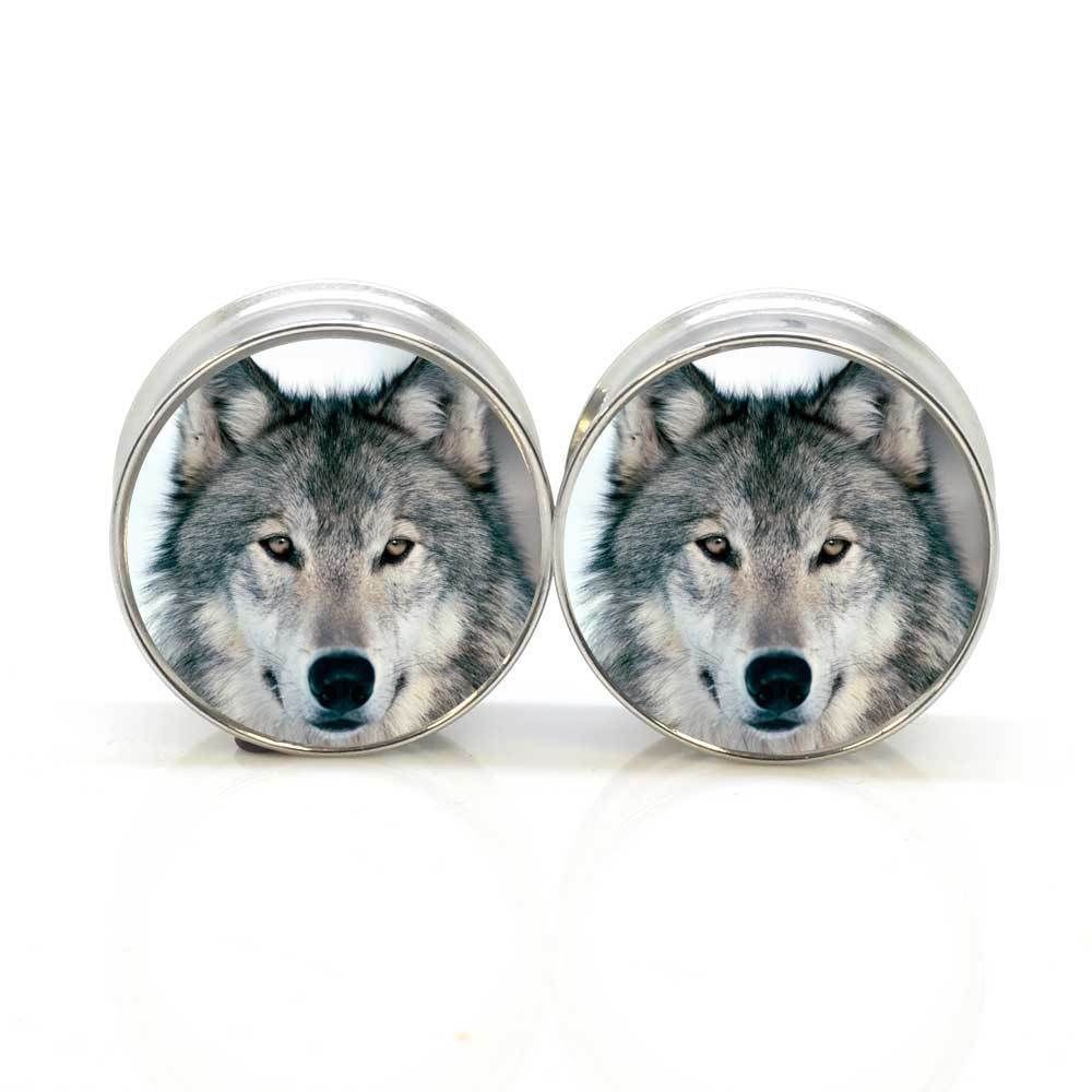1 pair wolf stainless steel night owl plug tunnels double flare ear plug gauges body piercing jewelry