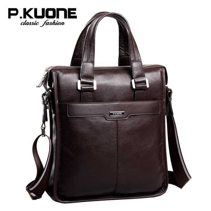 P. Kuone bolsa de ombro Masculino genuíno saco de homem de couro do couro bolsa sacos do mensageiro ocasional