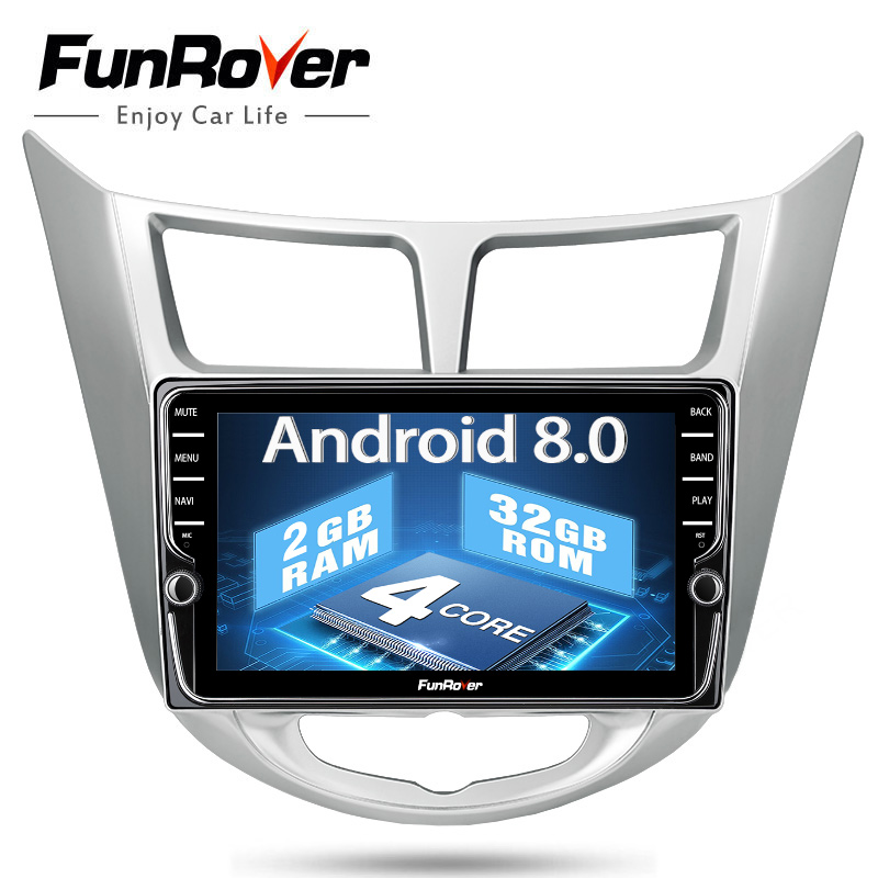 Funrover IPS Android 8.0 Voiture multimédia dvd radio lecteur gps pour hyundai solaris accent verna 2011-2015 2 din autoradio stéréo