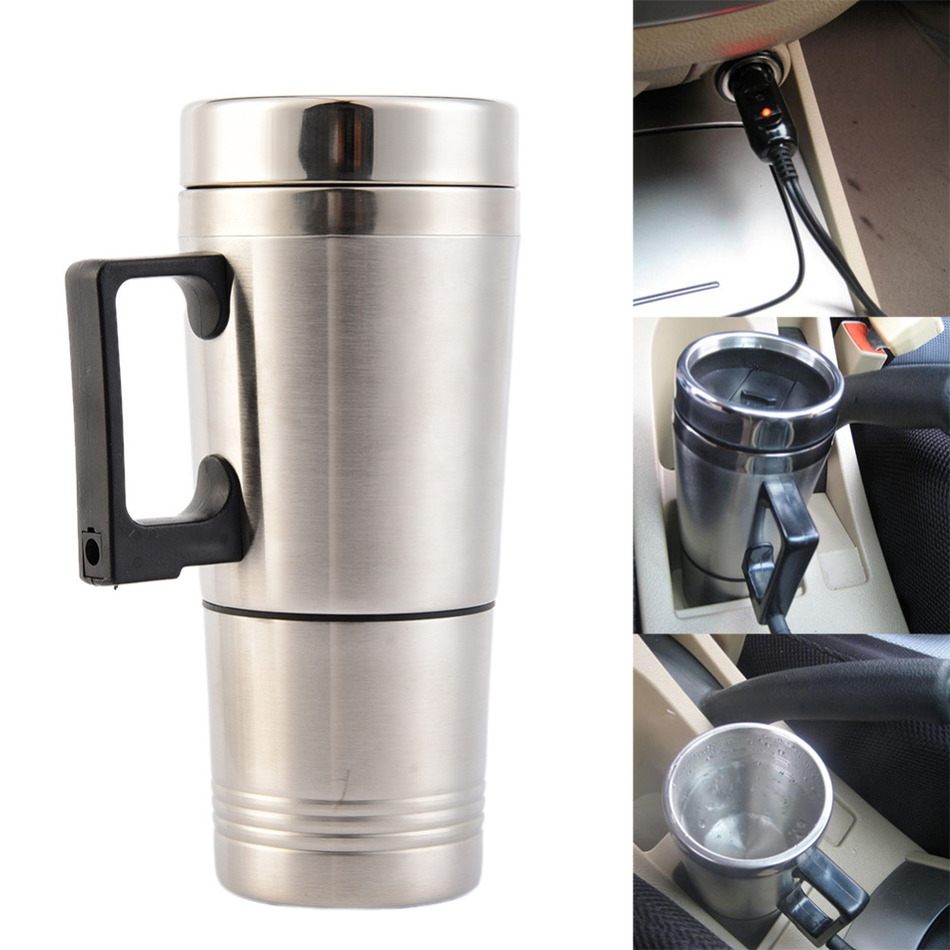 300ml Car Based Heating Stainless Steel Cup Kettle Travel Trip Coffee Tea Heated Mug Motor Cigarette Lighter Plug automatic mixing cup camera lens stainless steel coffee tea mug travel