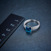 Hutang Genuine London Blue Topaz Twisted Ring Solid 925 Sterling Silver Gemstone Fine Jewelry for Women Xmas Gift 2017 New