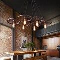 Промышленные droplight Кафе Ресторан Бар подвесной светильник американский Сельский восстановление древних способов  кованые колеса подвесно...