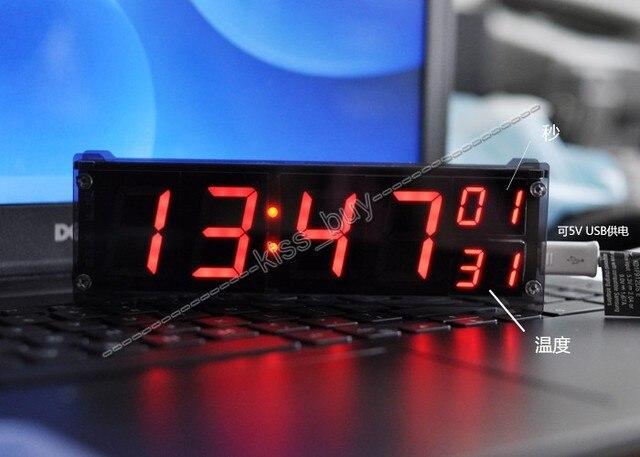 """1.2 """"DS3231 Цифровые часы модуль светодиодные электронные часы с температура сигнализация дисплей + корпус dc 12 В 24 В автомобиля функция памяти"""
