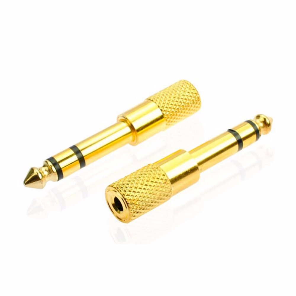 JRGK Audio jack converter <font><b>adapter</b></font> stereo jack for <font><b>6.5</b></font> mm male <font><b>to</b></font> <font><b>3.5</b></font> mm Female electric guitars headset microphone golden image