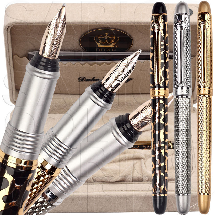 RollerBall pen or Fountain Pen 8K Solid Gold F Nib Leather Box 3 colors to choose 12pcs/lot  DUKE 216 Sign pen  Free  Shipping italic nib art fountain pen arabic calligraphy black pen line width 1 1mm to 3 0mm