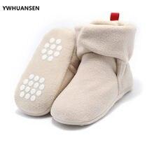 Ywhuansen botas unissex para bebês, recém nascidos, coral, lã, quente, para o inverno, infantil, sapatos de berço, meninas, meninos, primeiros passos