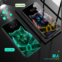 Luxury glass Cover Luminous Glass Case For Samsung Galaxy S9 S8 PLUS shockproof Back phone