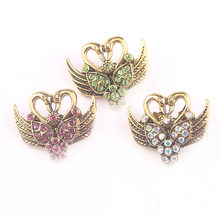 Fashion bronze butterfly snaps button rhinestone snap Jewelry fit 18mm women DIY snap bracelet necklace for women jewelry(China)