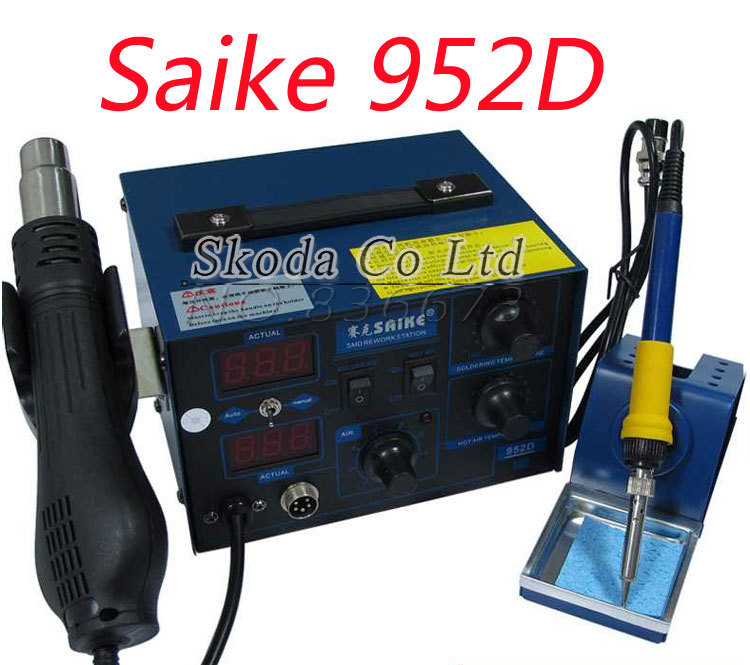 Free shipping Saike 952d Soldering Iron+Hot Air Gun 2 in1 BGA SMD rework station for QFP PLCC BGA SMD  dhl free saike 852d iron solder soldering hot air gun 2 in 1 rework station 220v 110v many gifts