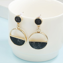 Retro Fashion Statement Earrings Ladies With Natural Stone Black / White Simple Semi-Circular Pendant Female Ornament