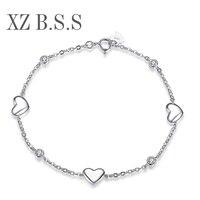 100 Solid 925 Sterling Silver Heart Shaped Bracelets For Women 3 Charms Bracelets Femme D47