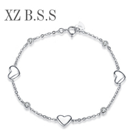 100 Solid 925 Sterling Silver Heart Shaped Bracelets For Women 3 Charms Bracelets Femme D47