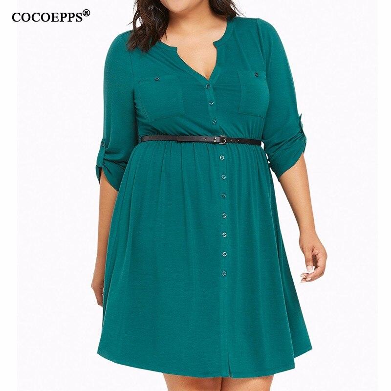 COCOEPPS Größe Frauen kleiden Blumendruck-Partei-Kleider - Damenbekleidung - Foto 5
