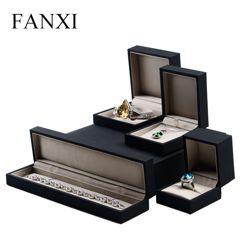 FANXI Classic Black Jewelry Packaging Box Ring Necklace Bracelet Long Chain Gift Box with Satin Inside Wedding Storage Organizer