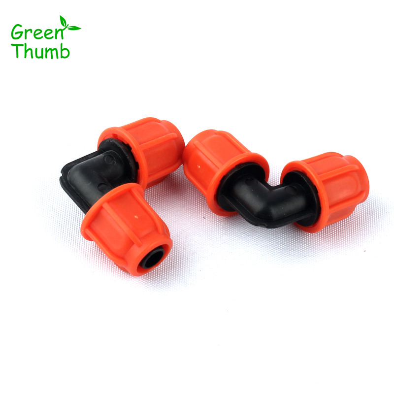 7pcs Orange 8/11mm Garden Hose Equal Elbow Thread Lock 90 Degree Hose Elbow Quick Connector Plant Irrigation System Fittings