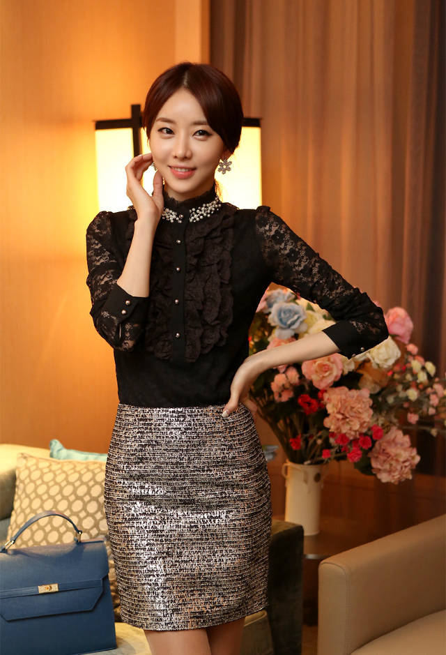 85be52b89519a3 White Black Shirt Victorian Blouse Womens Sheer Top Ladies Office Chiffon  Lace High Neck shirt tops-in Blouses   Shirts from Women s Clothing on ...