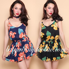 FREE SHIPPING 2016 Summer New Arrival Sexy Holiday Style Floral Strap Short Camis Shorts Sets Women Clothing Send With Neckband