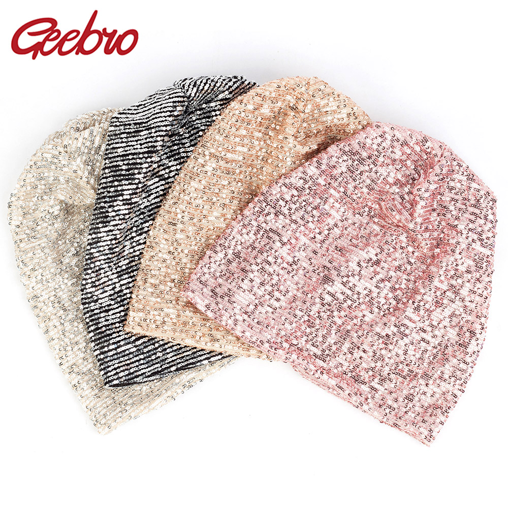 Geebro 2019 New Spring Winter Women Handmade Sequin Ladies Solid Color   Skullies     Beanies   Womens Girls Slouchy   Beanies   Hat DQ913