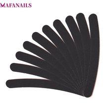 10PCS/Lot Professional Black Sandpaper Nail Files Banana Shape Nail Sanding File For Manicure Pedicure Emery Board 100/180 Grit solomeya curved white file 100 180 grit