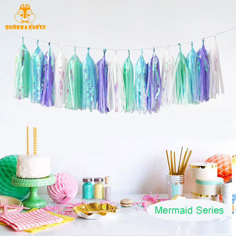 Unicorn Foil Tissue Tassel Paper Garland Wedding Decoration Birthday Party Thanksgiving Decorations for Home DIY Craft Supplies in Party DIY Decorations from Home Garden