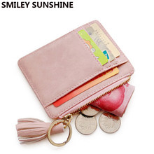 SMILEY SUNSHINE Nubuck Leather Mini Tassel Women Card Holder Cute Credit ID Card Holders Wallet Case Change Coin Purse Keychain(China)