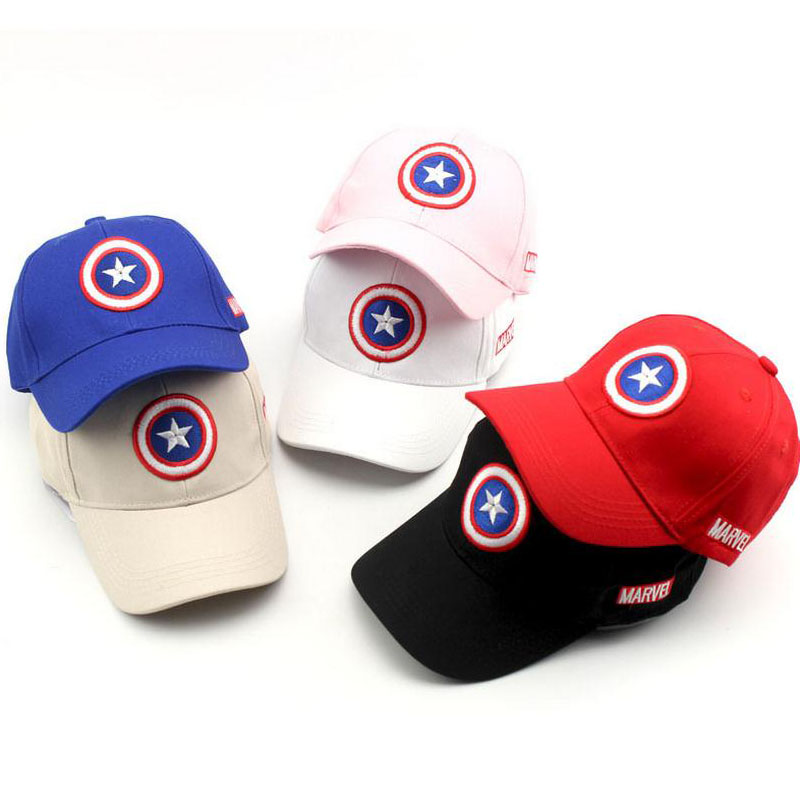 2017 New Captain America Children Hip Hop Solid Baseball Cap Summer kids Sun Hat Boys Girls snapback Caps 2-8 years hot exo boys and girls stars cotton children baseball cap flat brimmed hat visor cap fashion travel hip hop cap snapback caps