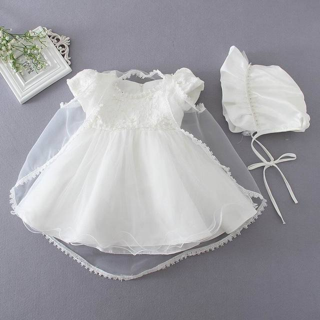 Retail 2016 Baby Girl Baptism Christening Easter Gown Dress Embroidery Shwal Cap Formal Toddler Party Dresses 3PCS/Set 1780
