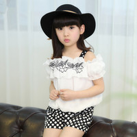 2017 Summer Clothes Teenage Jacket 12 Year Kids Clothes Set White Flower T Shirt Polka Dot