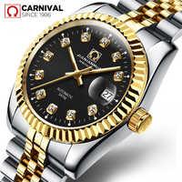 TopBrand carnaval automatique mécanique hommes Montre de luxe décontracté hommes en acier Montre-bracelet diamant plaqué or Montre Homme
