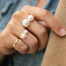 Korea Elegant Lady Style Tide Brand Fashion Shooting Joint Imitation Pearl Size Adjustable U-shaped Ring Female Free Shipping(China)