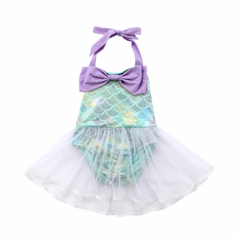 2018 Neck Toddler Baby Girls Swimsuit Mermaid Swimsuit Swimwear Lace Mesh Bodysuit Tutu Beachwear Bathing Cute Summer Suit