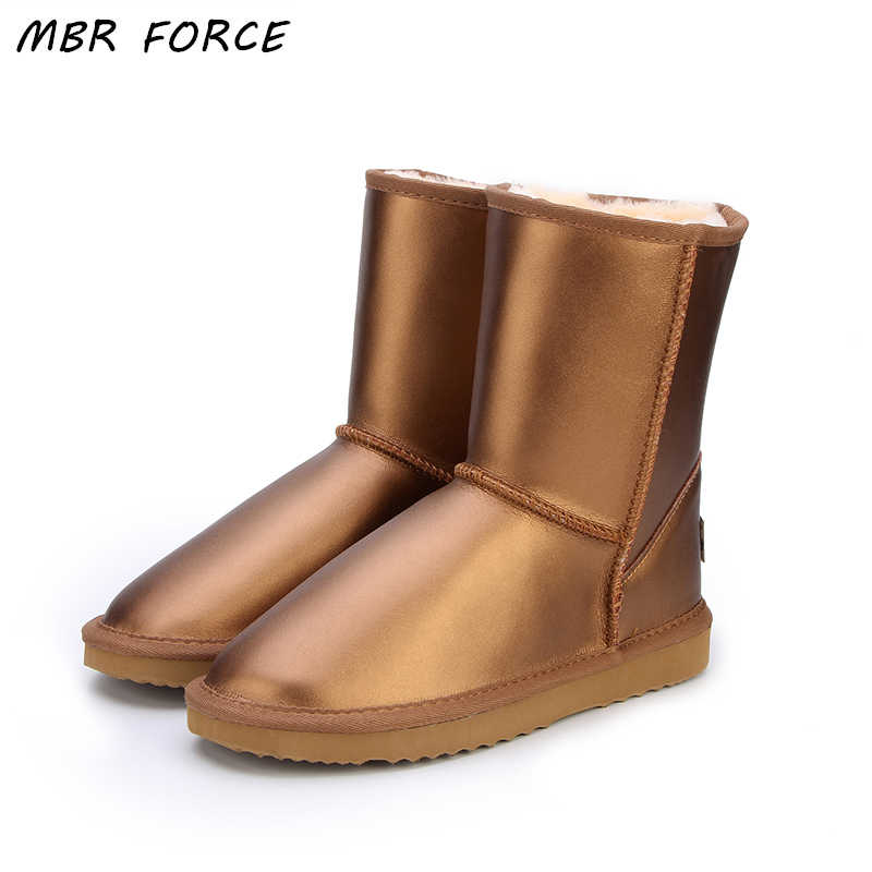 MBR FORCE Australia Classic Top Quality Women Genuine Cowhide Leather  Snow Boots Fur Snow Boots Warm Winter Boots Women Boots