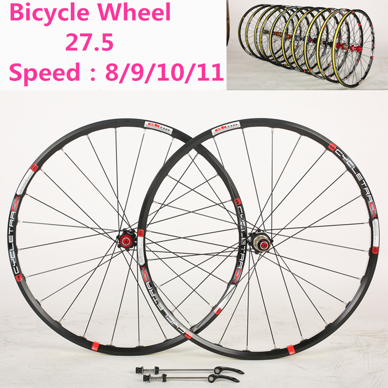Bicycle Wheel 27.5 inch MTB 24 Holes 6061 aluminum alloy CNC Disc brake wheels 4 bearing wheels 8/9/10/11 Speed Bicycle Parts