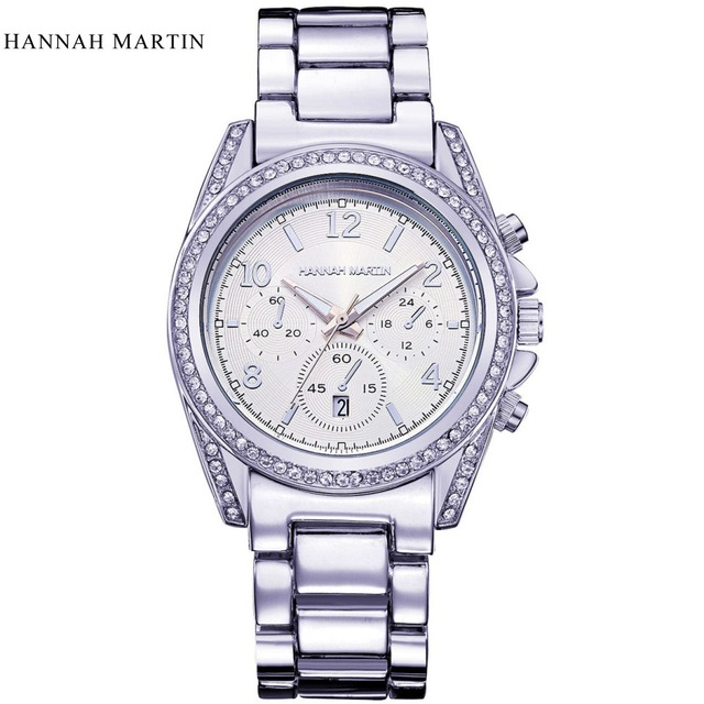 f27a0dcfbc1 Rhinestone diamante Rosa de Ouro Prata Relógio de Pulso Das Mulheres Marca  De Luxo Moda Casual