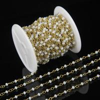 Wire Wrapped Beaded Chain 24k Gold Plated Rosary Chain White Faceted Rondelle Beads Tiny Size 2x3mm
