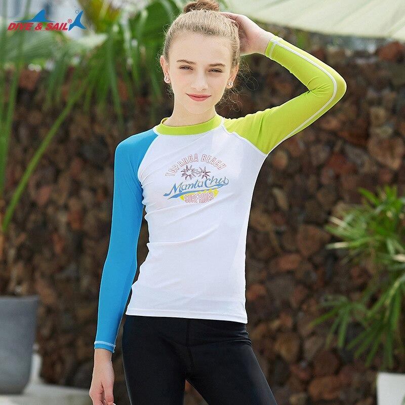26bbef9557e4 Cheap UPF50 + Lycra de manga larga Rash guardia niños camisetas de natación  Skins Tee chicas