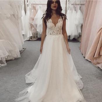 LORIE Beach Wedding Dress 2021 Lace Appliques Long Princess Bridal V Neck Gown