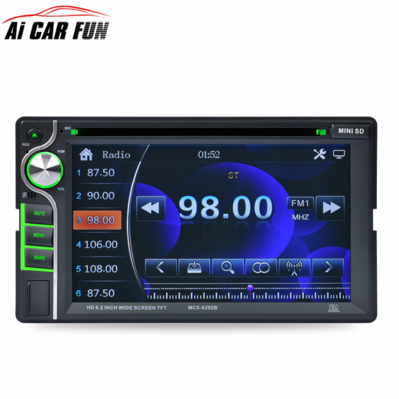 MCX-6202B 2 Din 6.2 Inch Car Stereo DVD CD MP3 Player In Dash Bluetooth Front and Rear View Camera Input Double Din Touch Screen 180 16 9 fast fold front and rear projection screen back