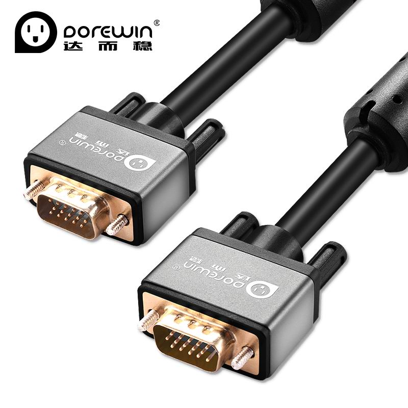 Dorewin VGA Cable 1080P VGA to VGA Male to Male Flat Round Shielding wire adapter for Computer