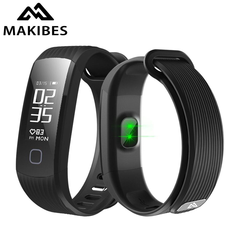 """Makibes hr1 Bluetooth Smart Браслет Фитнес трекер непрерывной сердечного ритма Мониторы 0.96 """"oled браслет для iOS и Android"""
