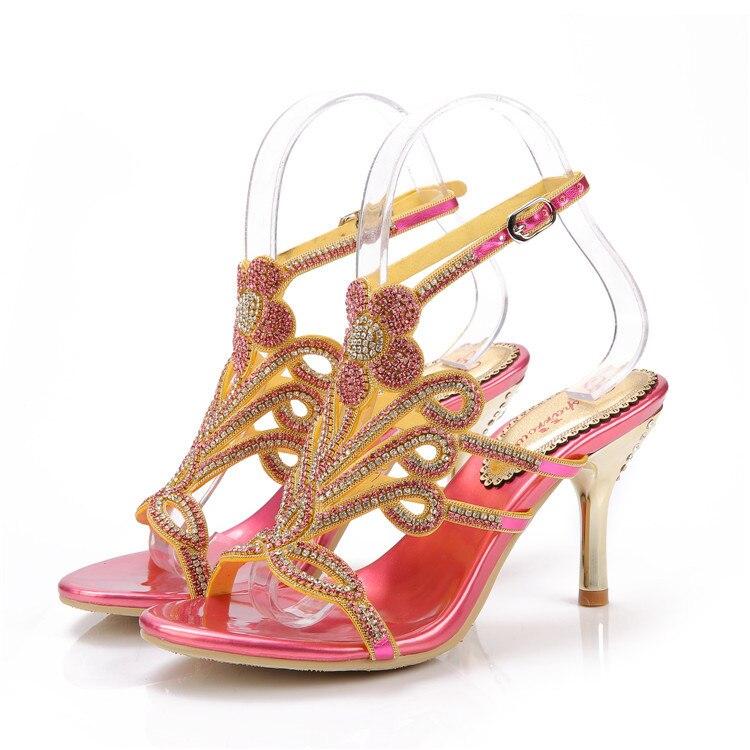 Фотография Catching Sheepskin Platform Shoes New Spring And Summer 2017 Pink High-Heeled Shoes Brand Diamond Women Pumps Waterproof Sandals