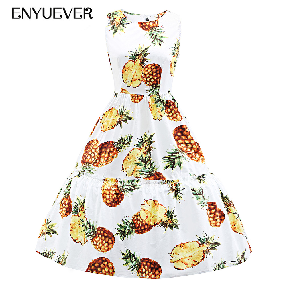 2de88d526b US $27.28 20% OFF|Enyuever Pineapple Dress Plus Size Vintage Dresses 50s  60s Tank Elegant Robe Rockabilly Retro Party Casual Clothing Summer  Dress-in ...