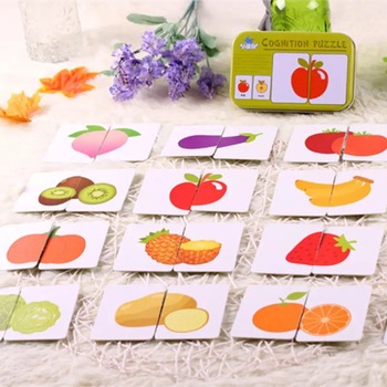 цена Baby Toys Montessori wooden Cognitive Pair Puzzle Card Toy For Kids Learning Education Vehicle/Fruit/Animal/Life Set Puzzle Gift онлайн в 2017 году