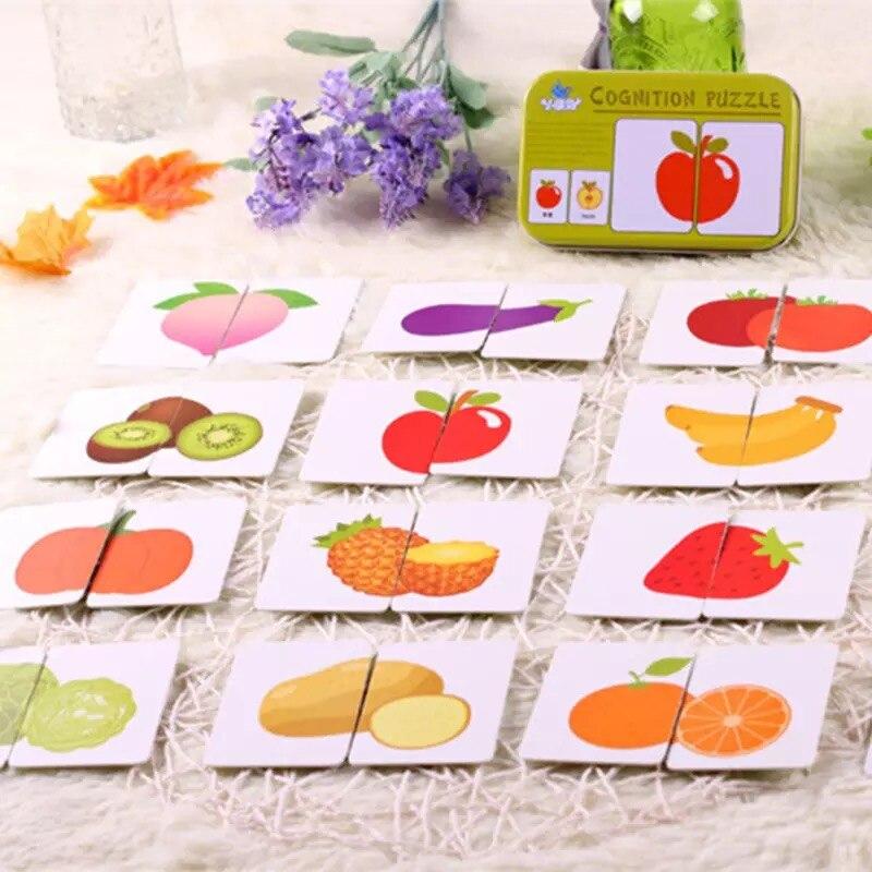 Brinquedos do bebê montessori de madeira cognitivo par puzzle cartão de brinquedo para crianças aprendizagem educação veículo/frutas/animal/vida conjunto puzzle presente
