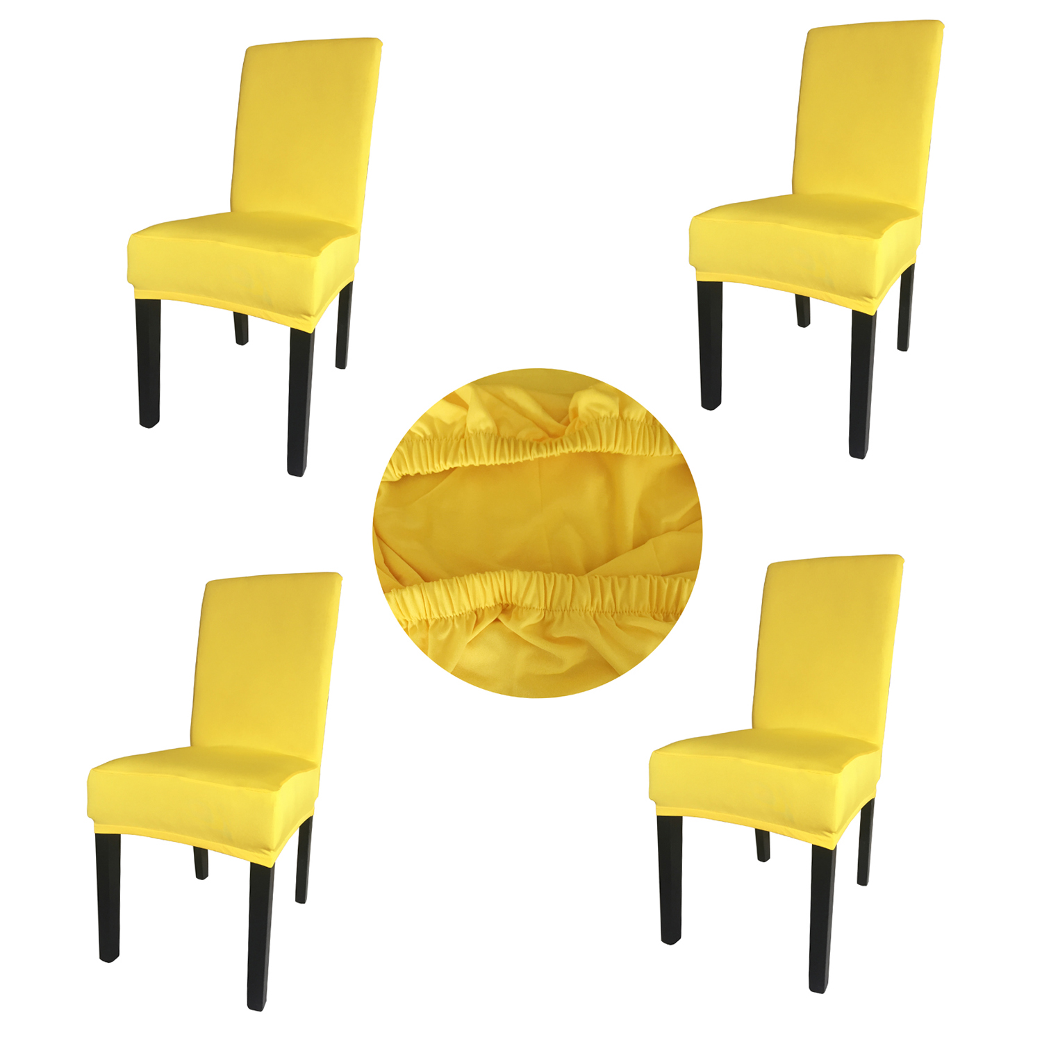 Wholesales 4 Pieces Yellow Spandex Fabric Stretch Removable Washable Dining Room Chair Cover Protector Seat Slipcovers SCS-4YL