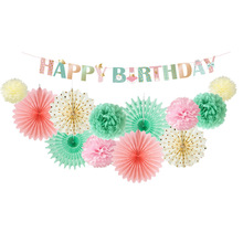 13pcs/set Mint Pink Birthday Party Decorations Wave Point Striped Happy Banner Paper Fans Pom Flowers