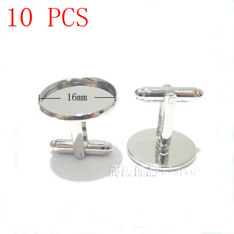 10 PCS Cufflinks Base Wholesale 16 MM Glass Cabochon Alloy Cuff Cufflinks Base Fit DIY Jewelry Material Handmade Boyfriends Gift