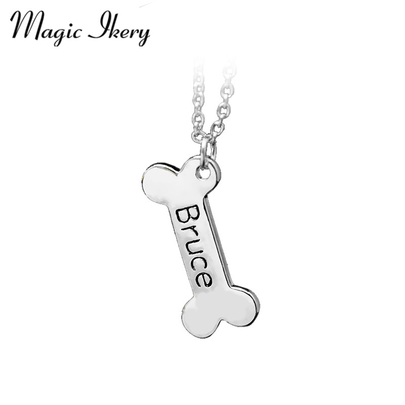 Magic Ikery New 2016 Engraved Tiny Letter Chain Bone Pendant Necklaces Jewelry For Women & Men Holiday Gifts MKA37 image