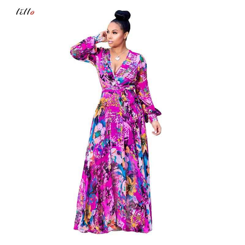 b8dc96a36e85 ... Plus size 2018 summer chiffon dress digital print fashion style big  swing dress women's clothing loose ...